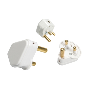 5A Round Pin Plug Top - White-135A-Knightsbridge