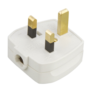 13A Plug Top 5A Fused - Screw / Cord Grip-White-1381-Knightsbridge