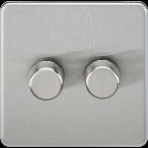 Screwless 2G 2-Way 40-400W Dimmer Switch-SF2182-Knightsbridge-Brushed chome