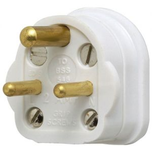 502whi Round Pin Mains Plug White 2a