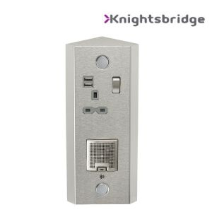 Vertical Power Station - Single 13A Socket + Twin USB (2.4A) and 3W Bluetooth Speaker