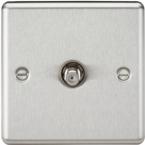 Sat TV Outlet - Rounded Edge Brushed Chrome-CL015BC-Knightsbridge