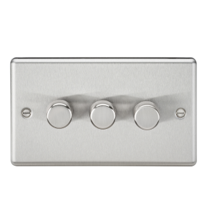 3G 2 Way 40-400W Dimmer - Rounded Edge Brushed Chrome-CL2173BC-Knightsbridge