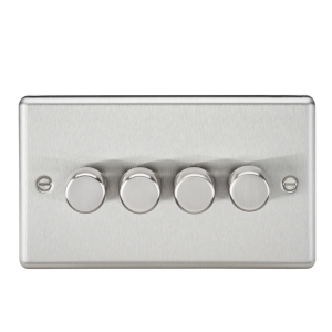 G 2 Way 40-400W Dimmer - Rounded Edge Brushed Chrome-CL2174BC-Knightsbridge