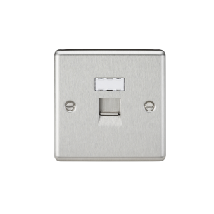 RJ45 Network Outlet - Rounded Edge Brushed Chrome-CL45BC-Knightsbridge