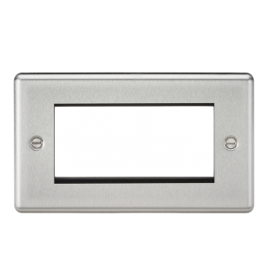 4G Modular Faceplate - Rounded Edge Brushed Chrome-CL4GBC-Knightsbridge