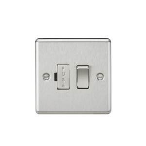 13A Switched Fused Spur Unit - Rounded Edge Brushed Chrome-CL63BC-Knightsbridge