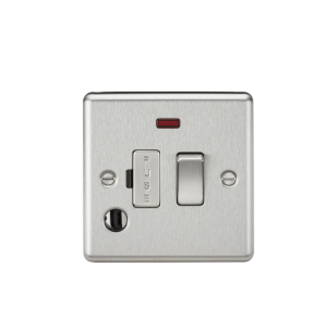 13A Switched Fused Spur Unit with Neon & Flex Outlet - Rounded Edge Brushed Chrome-CL63FBC-Knightsbridge