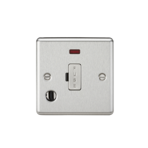 13A Fused Spur Unit with Neon & Flex Outlet - Rounded Edge Brushed Chrome-CL6FBC-Knightsbridge
