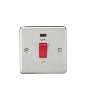 45A DP Switch with Neon (single size) - Rounded Edge Brushed Chrome-CL81NBC-Knightsbridge