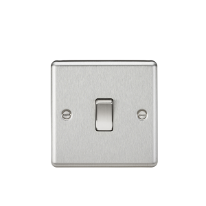 20A 1G DP Switch - Rounded Edge Brushed Chrome-CL834BC-Knightsbridge