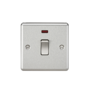 20A 1G DP Switch with Neon - Rounded Edge Brushed Chrome-CL834NBC-Knightsbridge