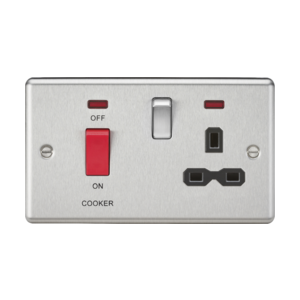 45A DP Cooker Switch & 13A Switched Socket- Rounded Edge-CL83BC-Knightsbridge