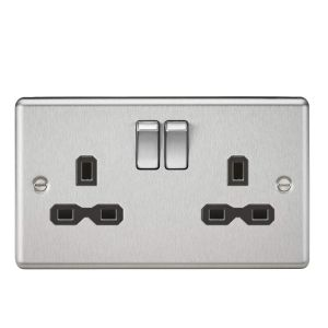 Knightsbridge CL9BC 13A 2G DP Switched Socket with Black Insert-Rounded Edge Brushed Chrome