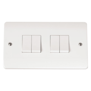 4-GANG 2-WAY 10A PLATE SWITCH-CMA019-Scolmore