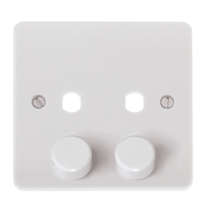 MODE 2 GANG SINGLE DIMMER PLATE & KNOBS-CMA146PL-Scolmore