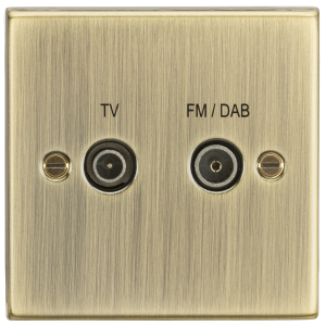 Diplex TV & FM Dab Outlet - Square Edge Antique Brass-CS016AB-Knightsbridge