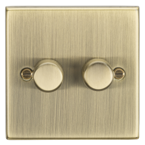 2G 2-way 10-200W (5-150W LED) trailing edge dimmer - Square Edge Antique Brass-CS2182AB-Knightsbridge