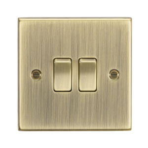 10A 2G 2 Way Plate Switch - Square Edge Antique Brass -CS3AB-Knightsbridge