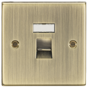 RJ45 Network Outlet - Square Edge Antique Brass-CS45AB-Knightsbridge