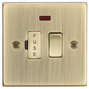 13A Switched Fused Spur Unit with Neon - Square Edge Antique Brass-CS63NAB-Knigthsbridge