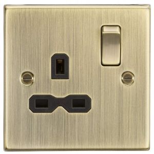 Knightsbridge CS7AB 13A 1G DP Switched Socket with Insert, Antique Brass