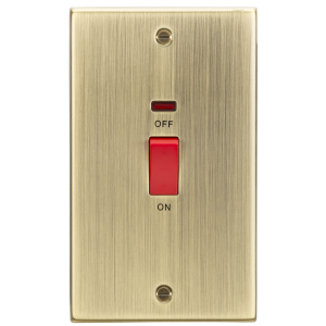 45A DP Switch with Neon (double size) - Square Edge Antique Brass-CS82NAB-Knightsbridge