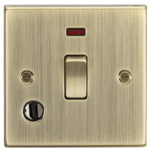 20A 1G DP Switch with Neon & Flex Outlet - Square Edge Antique Brass-CS834FAB-Knightsbridge