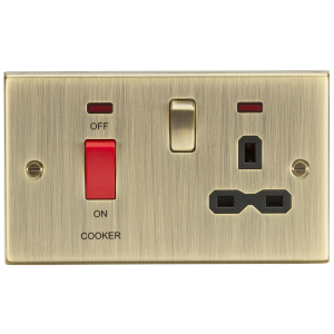 45A DP Cooker Switch & 13A Switched Socket with Neons & Black Insert - Square Edge Antique Brass-CS83AB-Knightsbridge