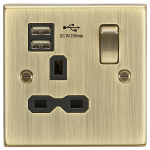 13A 1G Switched Socket Dual USB Charger Slots with Black Insert - Square Edge Antique Brass-CS91AB-Knightsbridge