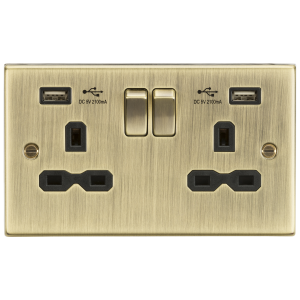 13A 2G Switched Socket Dual USB Charger Slots with Black Insert - Square Edge Antique Brass-CS9224AB-Knightsbridge