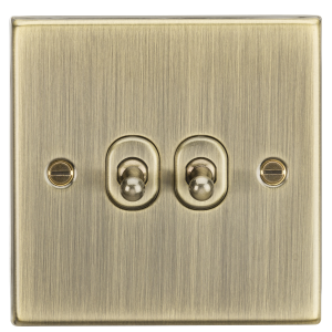 10A 2G 2 Way Toggle Switch - Square Edge Antique Brass-CSTOG2AB-Knightsbridge