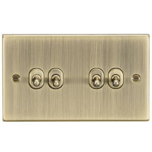 10A 4G 2 Way Toggle Switch - Square Edge Antique Brass-CSTOG4AB-Knightsbridge