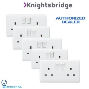Knightsbridge CU9000 Curved Edge 13A Twin 2 Gang Socket Double Pole Pack of 5