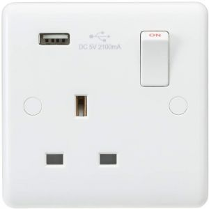 Knightsbridge CU9903 Curved Edge 13 A 1 Gang Switched Socket with USB Charger, White