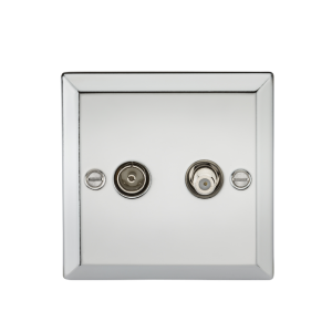 TV & SAT TV Outlet (isolated) - Bevelled Edge Polished Chrome-CV014PC-Knightsbridge