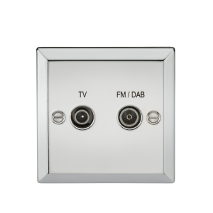 Diplex TV & FM DAB Outlet - Bevelled Edge Polished Chrome-CV016PC-Knightsbridge