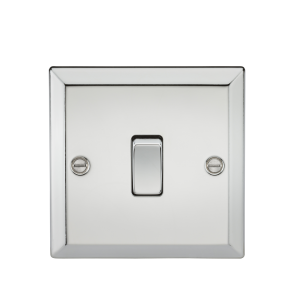10A 1G 2 Way Plate Switch - Bevelled Edge Polished Chrome-CV2PC-Knightsbridge