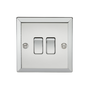 10A 2G 2 Way Plate Switch - Bevelled Edge Polished Chrome-CV3PC-Knightsbridge