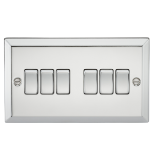 10A 6G 2 Way Plate Switch - Bevelled Edge Polished Chrome-CV42PC-Knightsbridge