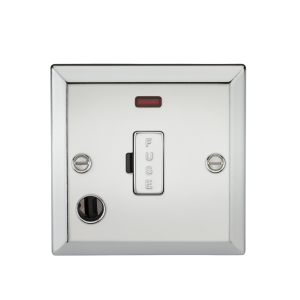 13A Fused Spur Unit with Neon & Flex Outlet-Bevelled Edge Polished Chrome-CV6FPC-Knightsbridge