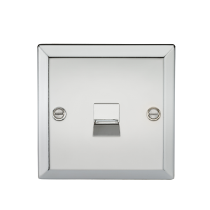 Telephone Extension Outlet - Bevelled Edge Polished Chrome-CV74PC-Knightsbridge
