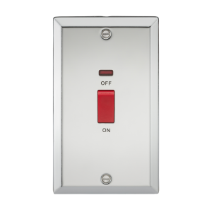 45A DP Switch with Neon (double size) - Bevelled Edge Polished Chrome-CV82NPC-Knightsbridge