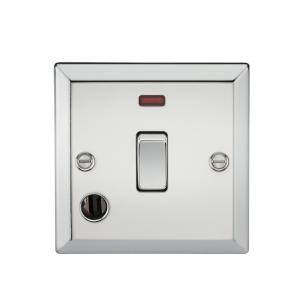 20A 1G DP Switch with Neon & Flex Outlet - Bevelled Edge Polished Chrome-CV834FPC-Knightsbridge