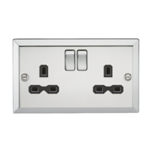 13A 2G DP Switched Socket-Bevelled Edge Polished Chrome-CV9PC-Knightsbridge