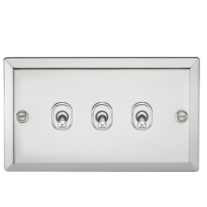10A 3G 2 Way Toggle Switch - Bevelled Edge Polished Chrome-CVTOG3PC-Knightsbridge