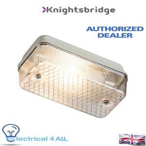Knightsbridge IP65 100W (ES) BULKHEAD E27 CLEAR PRISMATIC DIFFUSER & ALUMINIUM BASE