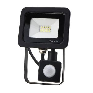 Red Arrow 10w LED IP65 security flood light 6000k Black Body with PIR Sensor