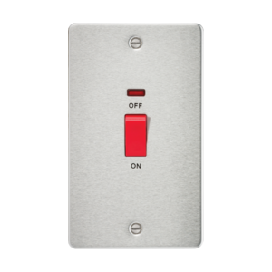 Flat Plate 45A 2G DP switch with neon-FP8332N-Knightsbridge