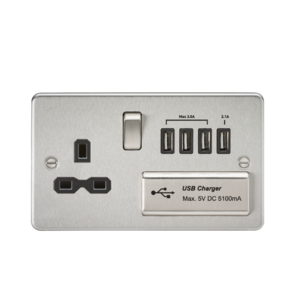 Flat plate 13A switched socket with quad USB charger-FPR7USB4-Knightsbridge